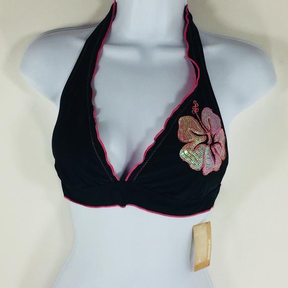 Arizona Jean Company Swim Pink Hibiscus Flower Bikini Top Halter